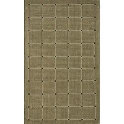 Manhattan Small Blocks Sage Hand-Loomed Wool Rug (8' x 11')