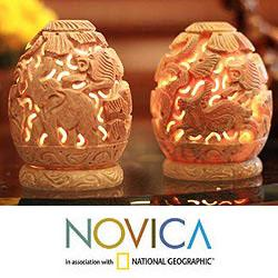 Set of 2 Soapstone 'Jungle Party' Candle Holders (India)
