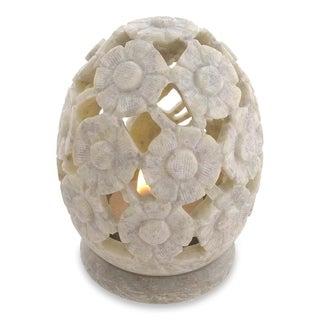 Set of 2 Soapstone 'White Daisies' Candle Holders (India)
