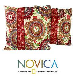 Set of Two Polyester 'Floral Explosion' Cushion Covers (India)