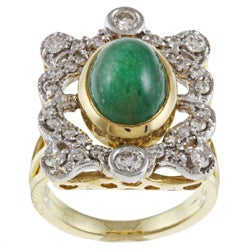 Pre-owned 18k Yellow Gold 7/8ct TDW Diamond and Emerald Estate Ring (J-K, I1-I2)