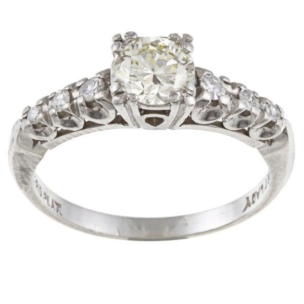 Platinum 7/8ct TDW Diamond Estate Engagement Ring (L-M, VS1-VS2)