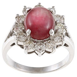 Pre-owned 14k White Gold Ruby and 1 1/4ct TDW Diamond Estate Ring (J-K, VS1-VS2)