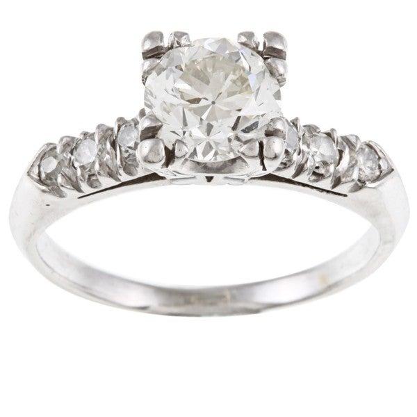 Pre-owned Platinum 1 1/3ct TDW Vintage Engagement Ring (I-J, VS1-VS2)