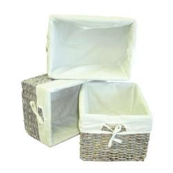 Woven Maize Grey Rectangular Storage Baskets (Set of 3)