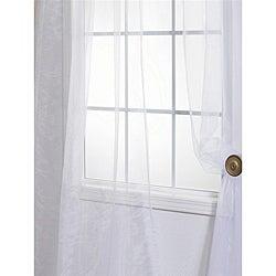 White Faux Organza Sheer Curtain Panel Pair