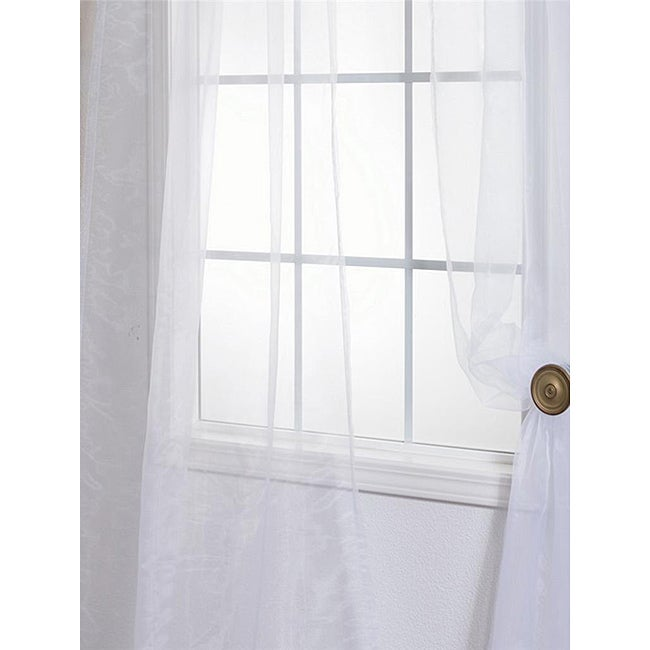 White Poly Voile 96-inch Sheer Curtain Panel Pair