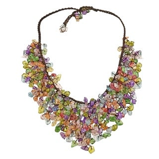 Handmade Multicolor Glass Waterfall Bib Necklace