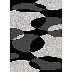 Brilliance Circles Black/ Grey Area Rug (5'5 x 7'7)