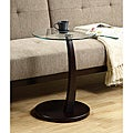 Cappuccino Bentwood Accent Table with Tempered Glass