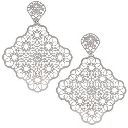 La Preciosa Stainless Steel Square Filigree Earrings