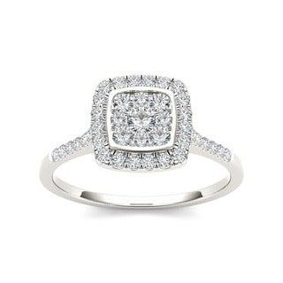 De Couer 10k White Gold TDW 1/2ct Diamond Halo Engagement Ring (H-I, I2)