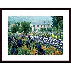 Claude Monet 'Irises, Claude Monet's Country Estate' Wood-framed Art Print