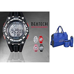 Beatech Black/ Red Button Heart Rate Monitor Watch with Russell Athletic 3-piece Work-out Set