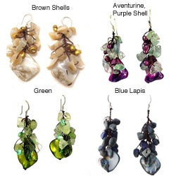Sterling Silver Lapis and Mother of Pearl Earrings (Thailand)