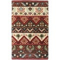 Hand-tufted Red Southwestern Aztec Henderson New Zealand Wool Rug (5'x8')