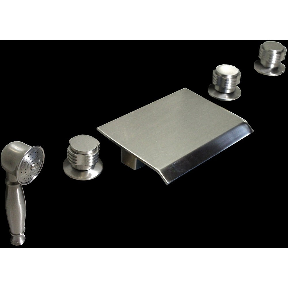 Brushed nickel waterfall 5 piece bathroom tub faucet set for Bathroom 5 piece set