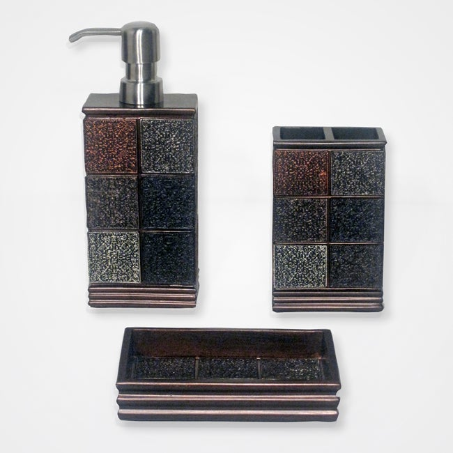 Tivoli Brown Resin Tile-patterned Bath Accessory 3-piece Set