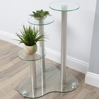 Daisy Glass 3-tier Silver Plant Stand