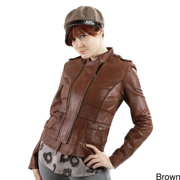 United Face Women's Leather Double Zip Slim Jacket