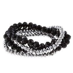 Alexa Starr Silver and Black Stretch Bracelet