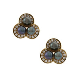Pre-owned 18k Gold Tahitian Pearl and 3ct TDW Diamond Estate Earrings (G-H, SI1-SI2) (7 mm)