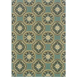 Blue/ Ivory Outdoor Area Rug (2'5 x 4'5)