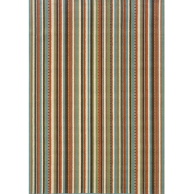Blue/Ivory Stripe-Pattern Outdoor Area Rug (7'10 x 10'10)