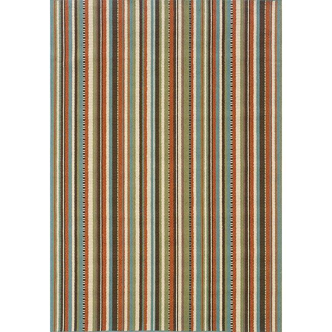Stripe Blue Ivory Outdoor Area Rug 5 3 x 7 6 Overstock