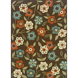 Brown/Ivory Outdoor Floral Area Rug (6'7