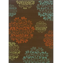 Brown/Blue Outdoor Area Rug (5'3 x 7'6)