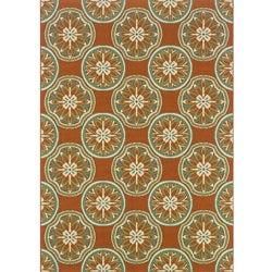Orange/ Ivory Outdoor Area Rug (5'3 x 7'6)
