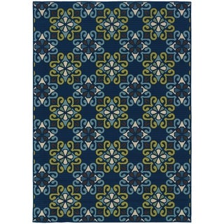 Blue/ Blue Outdoor Area Rug (5'3 x 7'6)