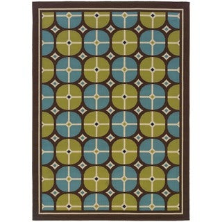 Brown/Blue Geometric Outdoor Area Rug (7'10 x 10'10)