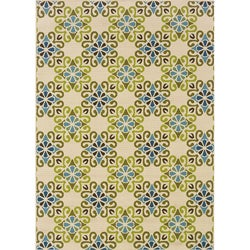 "Floral Ivory/Blue Outdoor Area Rug (5'3"" x 7'6"")"