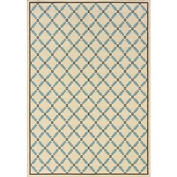 Ivory/ Blue Geometric Outdoor Area Rug (7'10 x 10'10)
