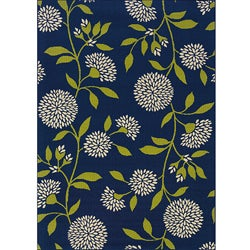Blue/Green Floral Outdoor Area Rug (3'10 x 5'6)