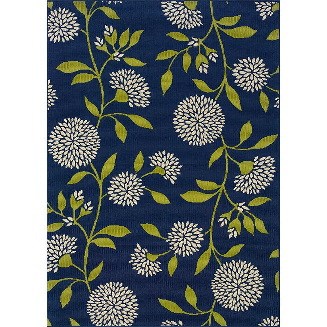 Blue/Green Outdoor Area Rug (6'7 x 9'6)