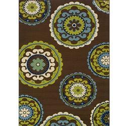 Brown/Green Contemporary Outdoor Area Rug (7'10 x 10'10)
