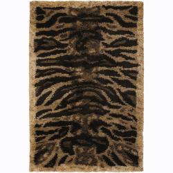 Handwoven Beige Tiger-Striped Mandara Shag Rug (9' x 13)