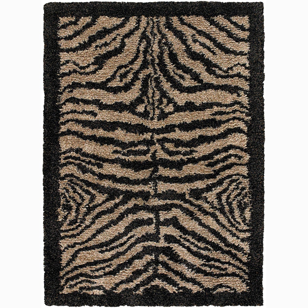 Handwoven Tiger-Print Bordered Mandara Shag Rug (9' X 13