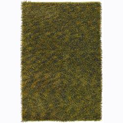 Handwoven Yellow/Green Mandara Shag Rug (9' x 13')