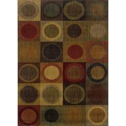 Ellington Green/Red Contemporary Area Rug (5'3 x 7'6)