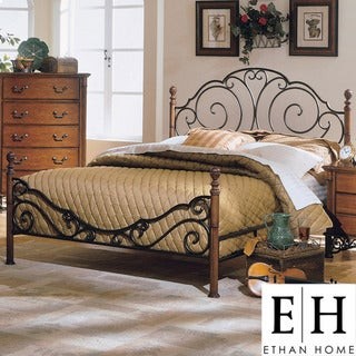 ETHAN HOME LeAnn Graceful Scroll Bronze Iron King-size Poster Bed
