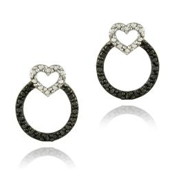 DB Designs Sterling Silver Black Diamond Accent Heart on Circle Earrings