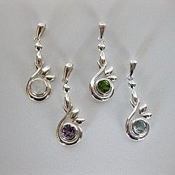 Sterling Silver Round Gemstones Necklace (Thailand)