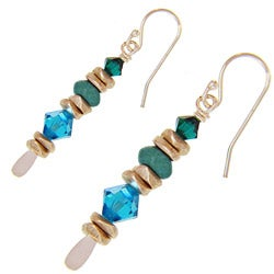 Misha Curtis Sterling Silver Turquoise and Crystal Earrings