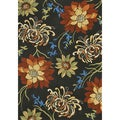 Hand-hooked Coventry Black Floral Indoor/ Outdoor Rug (5' x 7'6)