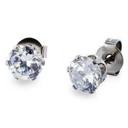 West Coast Jewelry Stainless Steel 4 mm Cubic Zirconia Stud Earrings