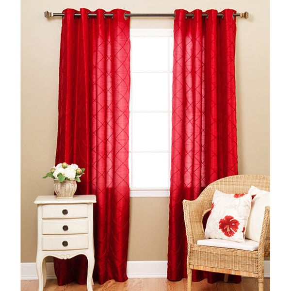 Lights Out Faux Silk Pintuck 95-inch Curtain Panel Pair